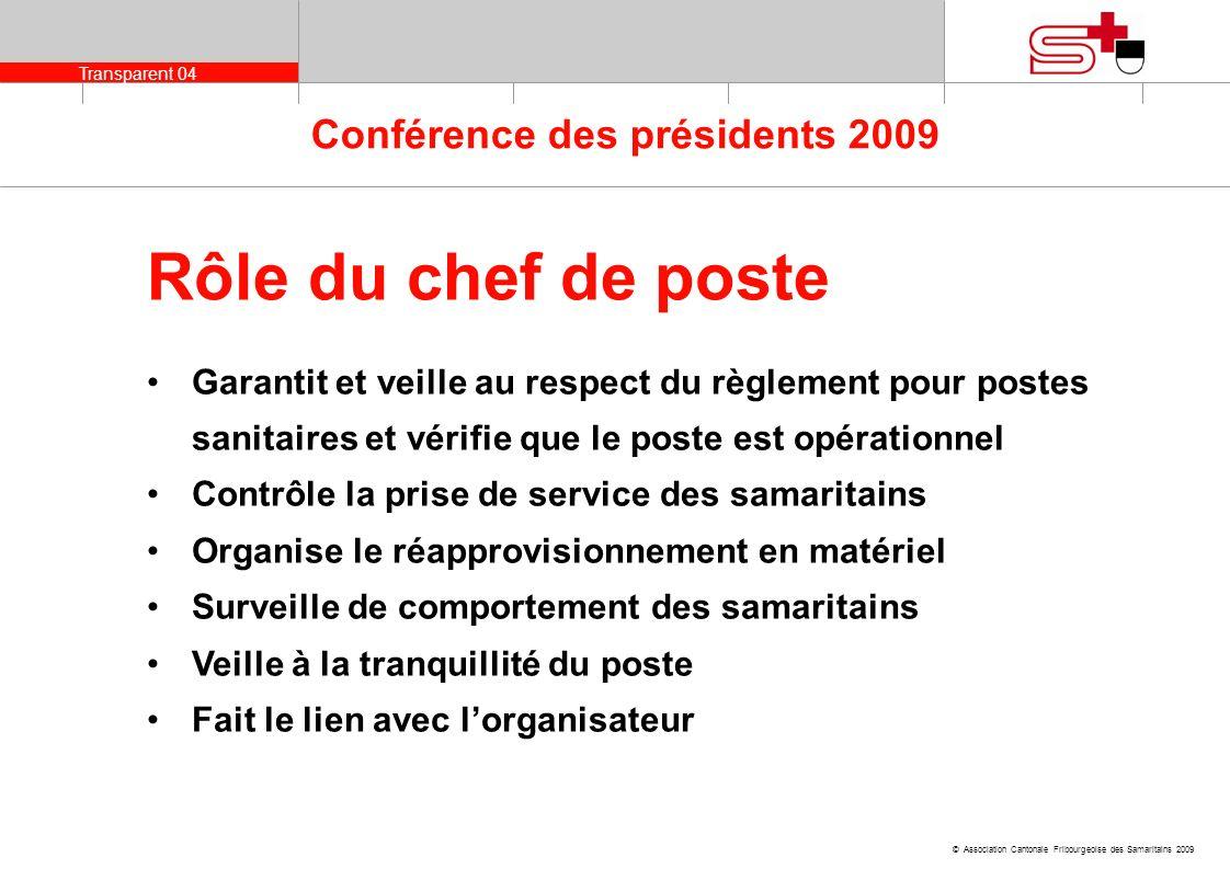 Transparent 04 © Association Cantonale Fribourgeoise des Samaritains 2009 Conférence des présidents 2009 Garantit et veille au respect du règlement po