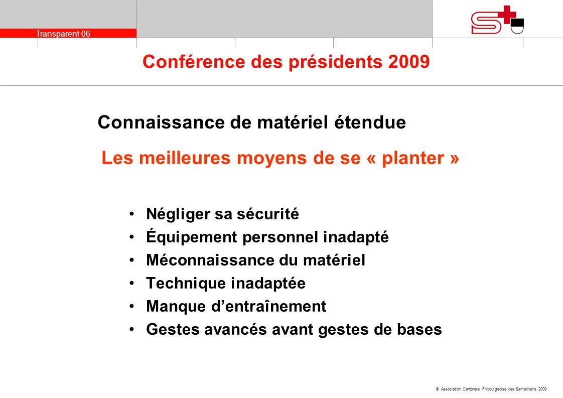 Transparent 06 © Association Cantonale Fribourgeoise des Samaritains 2009 Conférence des présidents 2009 Connaissance de matériel étendue Les meilleur
