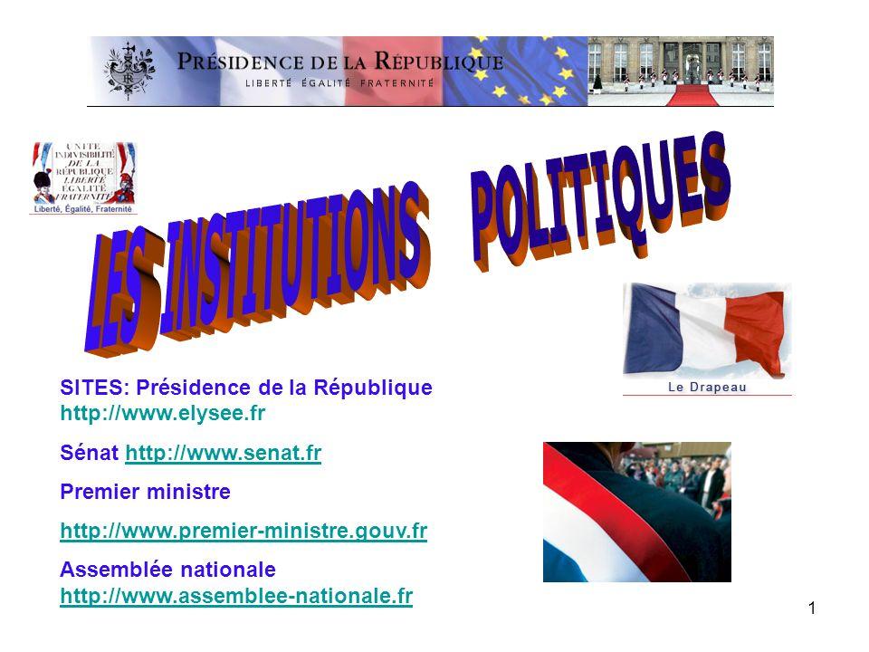 1 SITES: Présidence de la République http://www.elysee.fr Sénat http://www.senat.frhttp://www.senat.fr Premier ministre http://www.premier-ministre.go