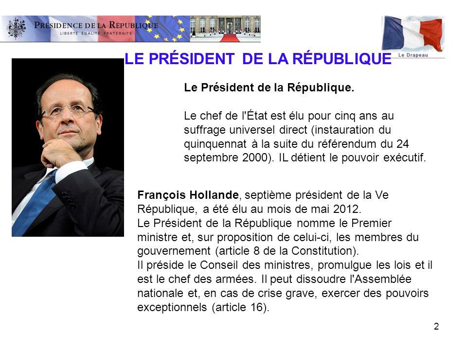 2 François Hollande, septième président de la Ve République, a été élu au mois de mai 2012. Le Président de la République nomme le Premier ministre et