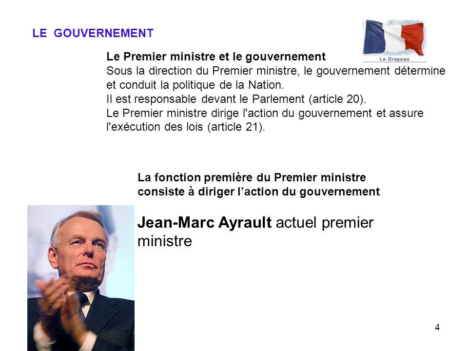 4 LE GOUVERNEMENT Le Premier ministre et le gouvernement Sous la direction du Premier ministre, le gouvernement détermine et conduit la politique de l