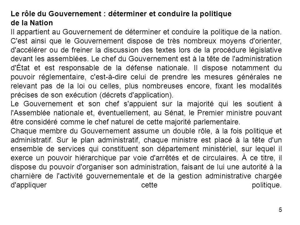5 Le rôle du Gouvernement : déterminer et conduire la politique de la Nation Il appartient au Gouvernement de déterminer et conduire la politique de l