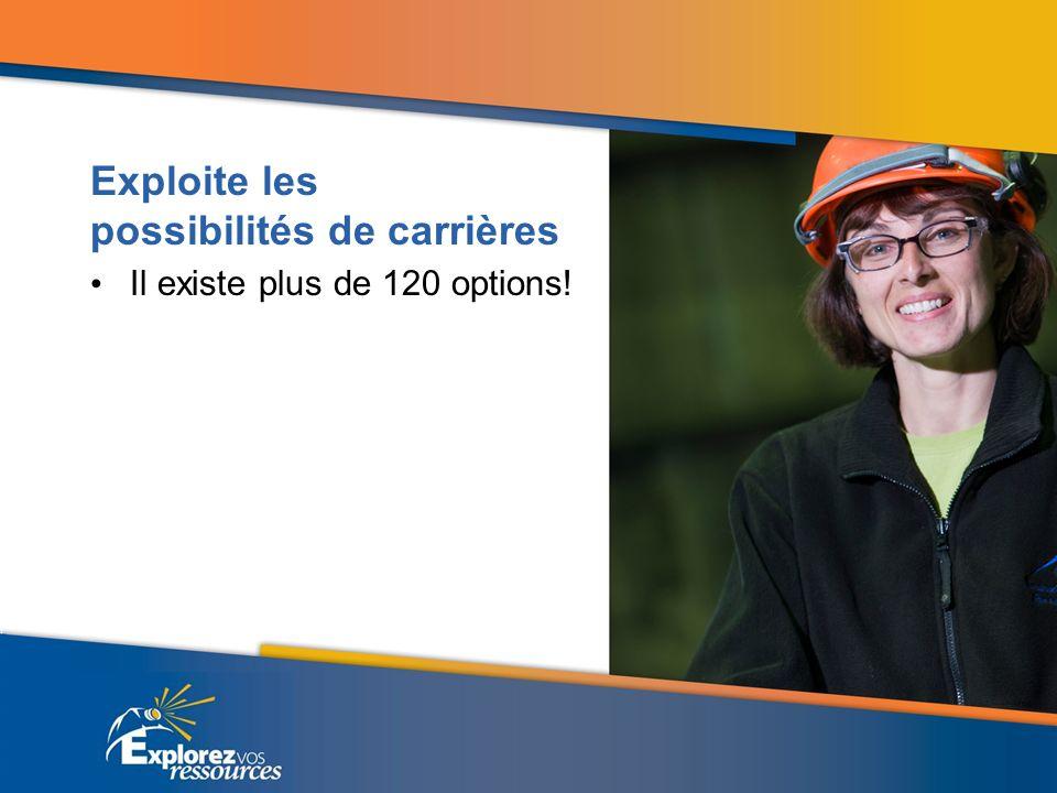 Exploite les possibilités de carrières Il existe plus de 120 options!