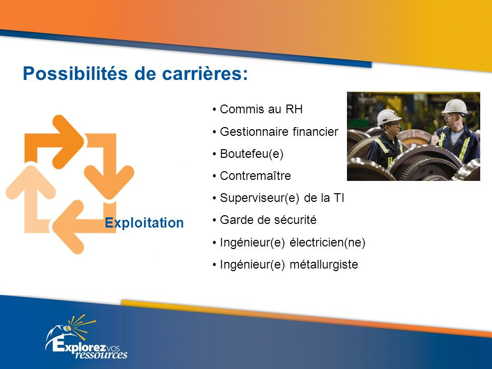 Commis au RH Gestionnaire financier Boutefeu(e) Contremaître Superviseur(e) de la TI Garde de sécurité Ingénieur(e) électricien(ne) Ingénieur(e) métal
