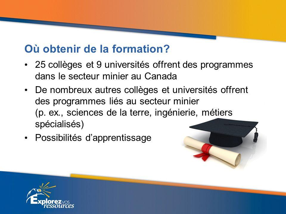 Où obtenir de la formation? 25 collèges et 9 universités offrent des programmes dans le secteur minier au Canada De nombreux autres collèges et univer