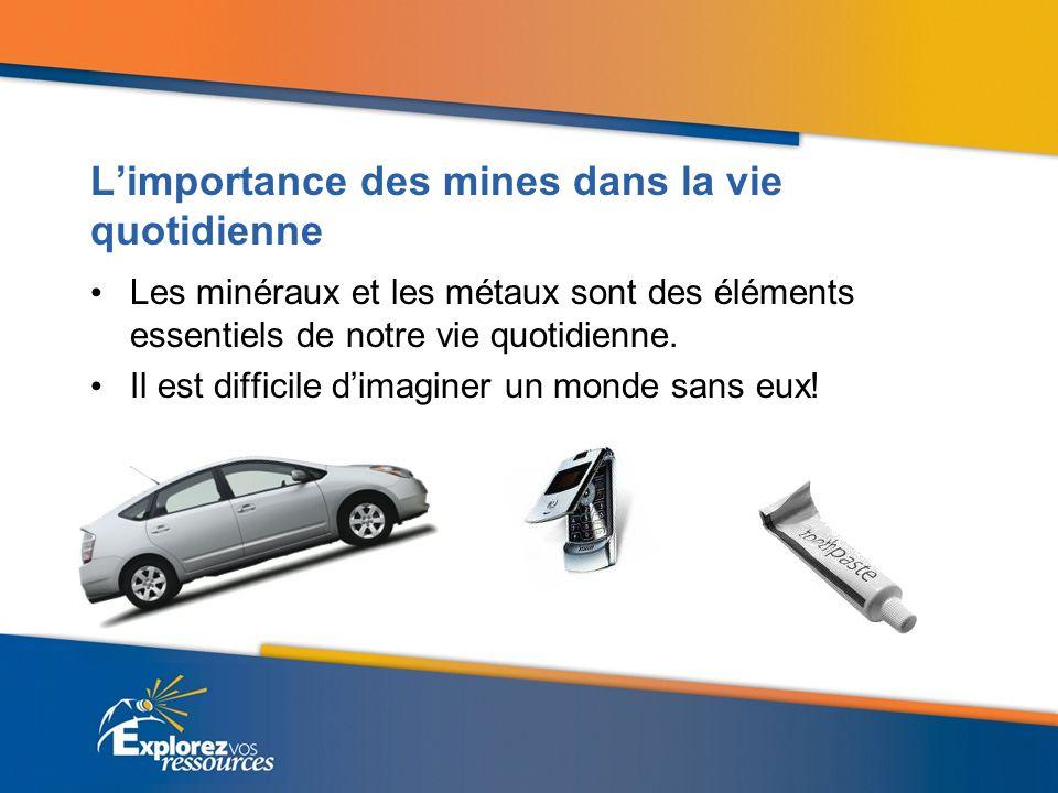 Limportance des mines dans la vie quotidienne Les minéraux et les métaux sont des éléments essentiels de notre vie quotidienne. Il est difficile dimag