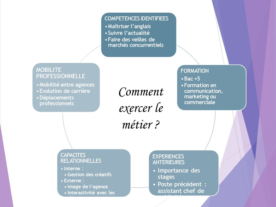 COMPETENCES IDENTIFIEES Maîtriser langlais Suivre lactualité Faire des veilles de marchés concurrentiels FORMATION Bac +5 Formation en communication,