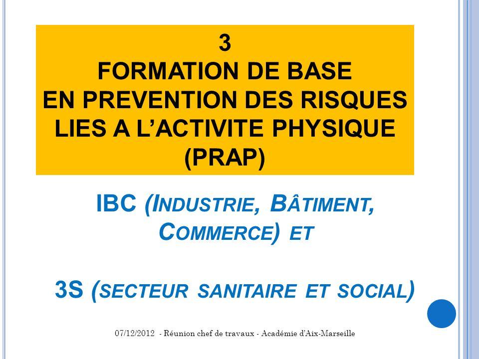 IBC (I NDUSTRIE, B ÂTIMENT, C OMMERCE ) ET 3S ( SECTEUR SANITAIRE ET SOCIAL ) 3 FORMATION DE BASE EN PREVENTION DES RISQUES LIES A LACTIVITE PHYSIQUE