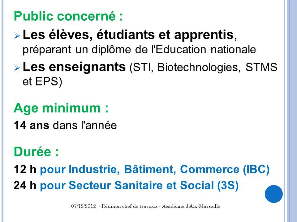Public concerné : Les élèves, étudiants et apprentis, préparant un diplôme de l'Education nationale Les enseignants (STI, Biotechnologies, STMS et EPS
