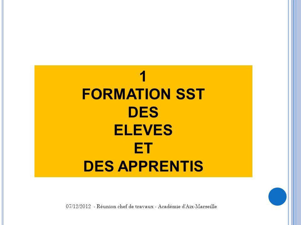 1 FORMATION SST DES ELEVES ET DES APPRENTIS 07/12/2012 - Réunion chef de travaux - Académie d'Aix-Marseille