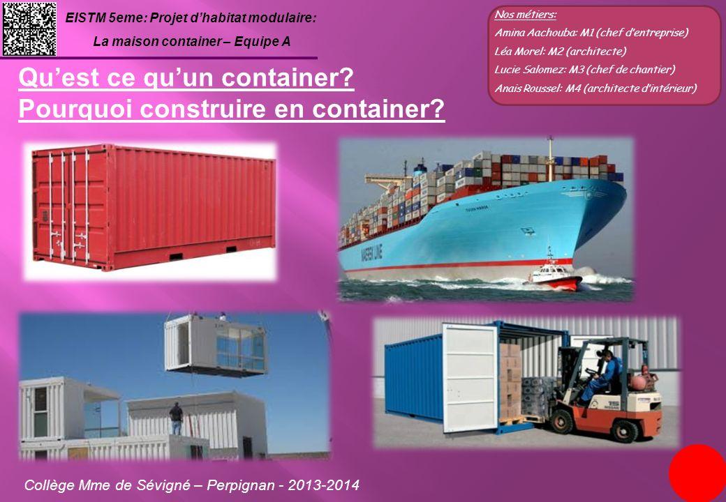 EISTM 5eme: Projet dhabitat modulaire: La maison container – Equipe A Collège Mme de Sévigné – Perpignan - 2013-2014 Nos métiers: Amina Aachouba: M1 (