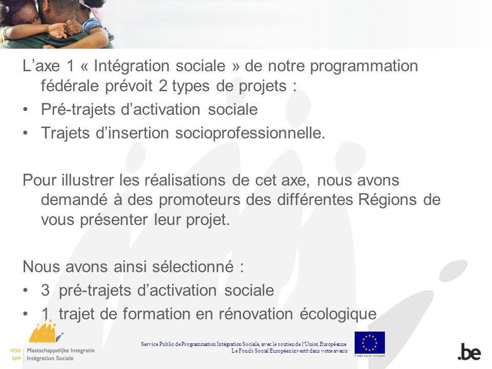 Laxe 1 « Intégration sociale » de notre programmation fédérale prévoit 2 types de projets : Pré-trajets dactivation sociale Trajets dinsertion sociopr