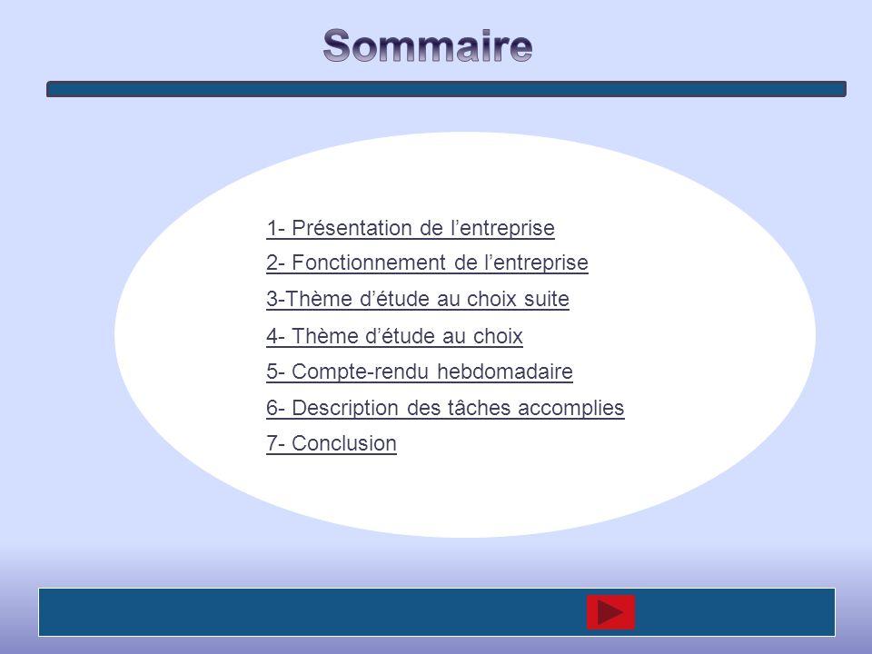 1- Présentation de lentreprise 2- Fonctionnement de lentreprise 4- Thème détude au choix 5- Compte-rendu hebdomadaire 6- Description des tâches accomp