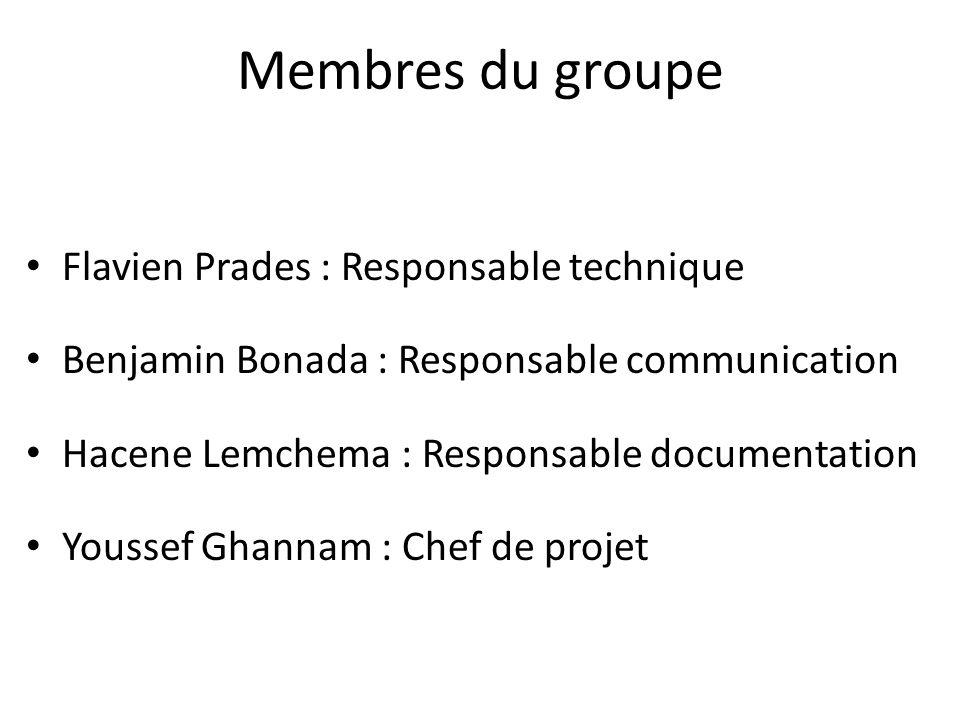 Membres du groupe Flavien Prades : Responsable technique Benjamin Bonada : Responsable communication Hacene Lemchema : Responsable documentation Youssef Ghannam : Chef de projet