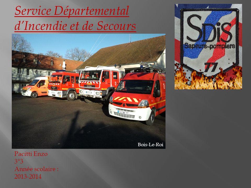 Service Départemental dIncendie et de Secours Pacitti Enzo 3°3 Année scolaire : 2013-2014 Bois-Le-Roi