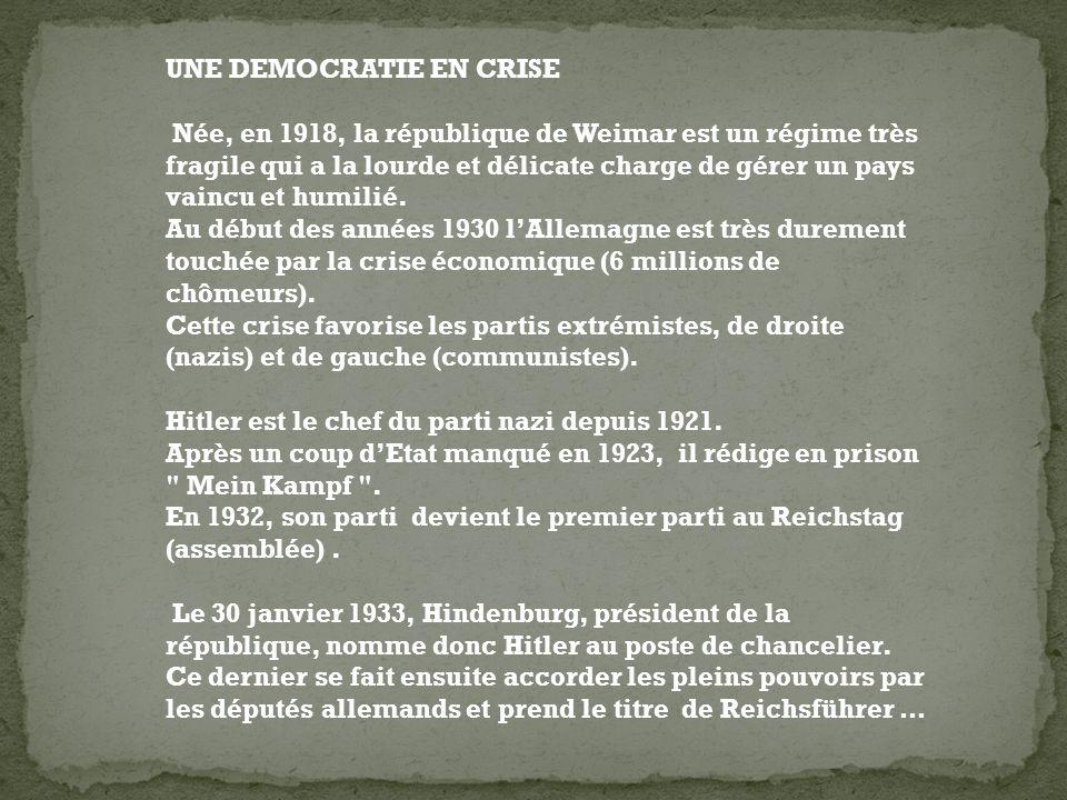 UNE DEMOCRATIE EN CRISE Née, en 1918, la république de Weimar est un régime très fragile qui a la lourde et délicate charge de gérer un pays vaincu et