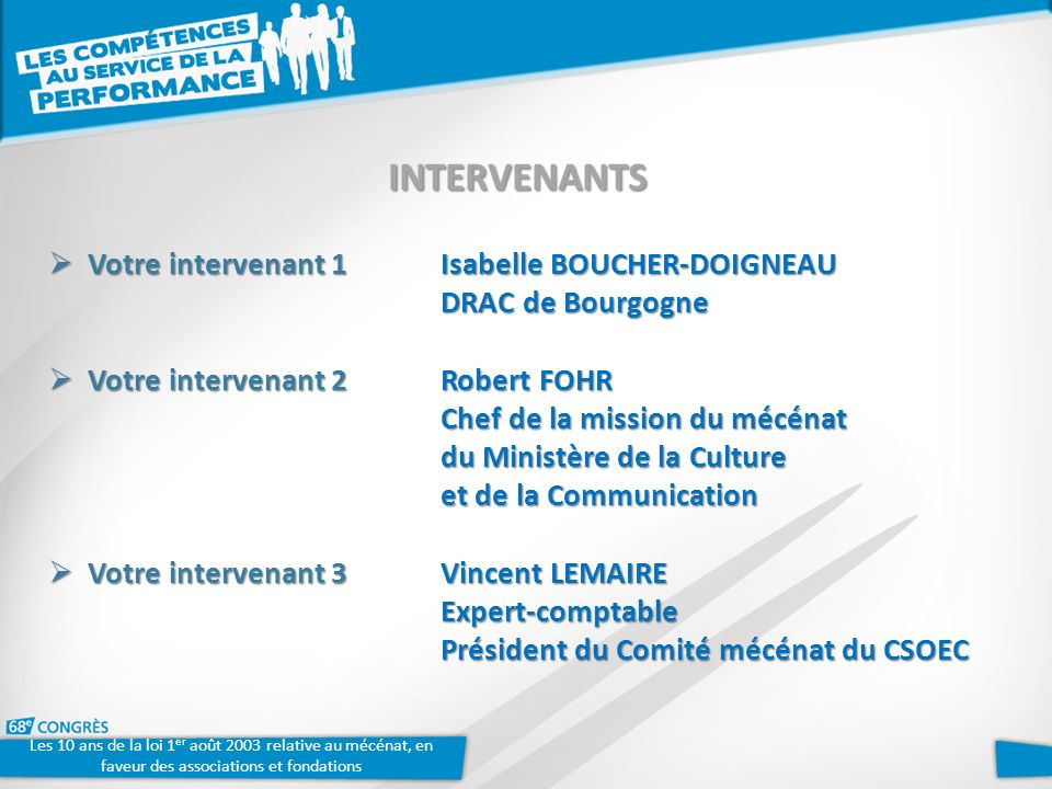 INTERVENANTS Votre intervenant 1Isabelle BOUCHER-DOIGNEAU Votre intervenant 1Isabelle BOUCHER-DOIGNEAU DRAC de Bourgogne Votre intervenant 2Robert FOH