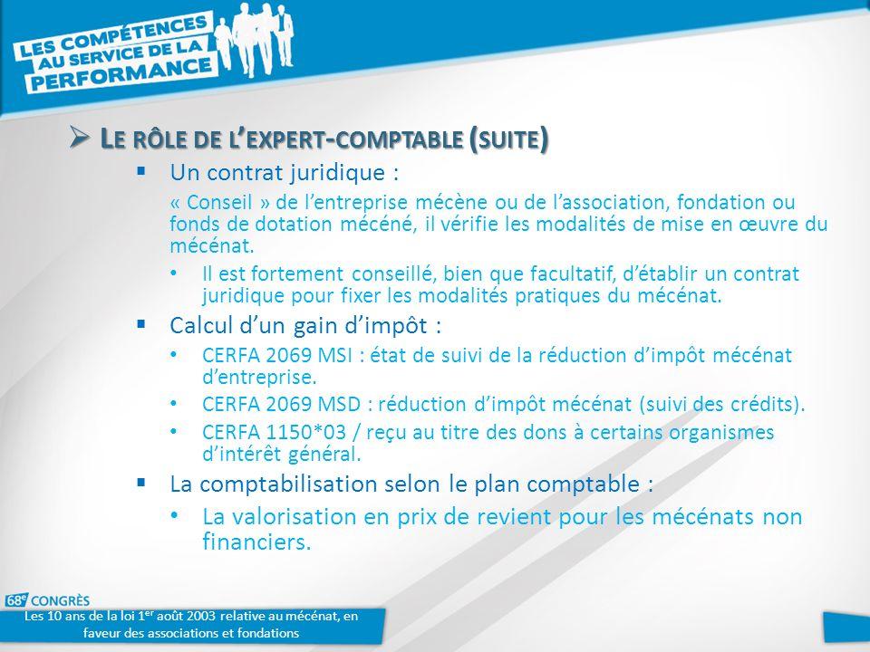 Les 10 ans de la loi 1 er août 2003 relative au mécénat, en faveur des associations et fondations L E RÔLE DE L EXPERT - COMPTABLE ( SUITE ) L E RÔLE