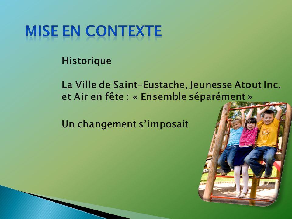 La Ville de Saint-Eustache, Jeunesse Atout Inc. et Air en fête : « Ensemble séparément » Un changement simposait Historique