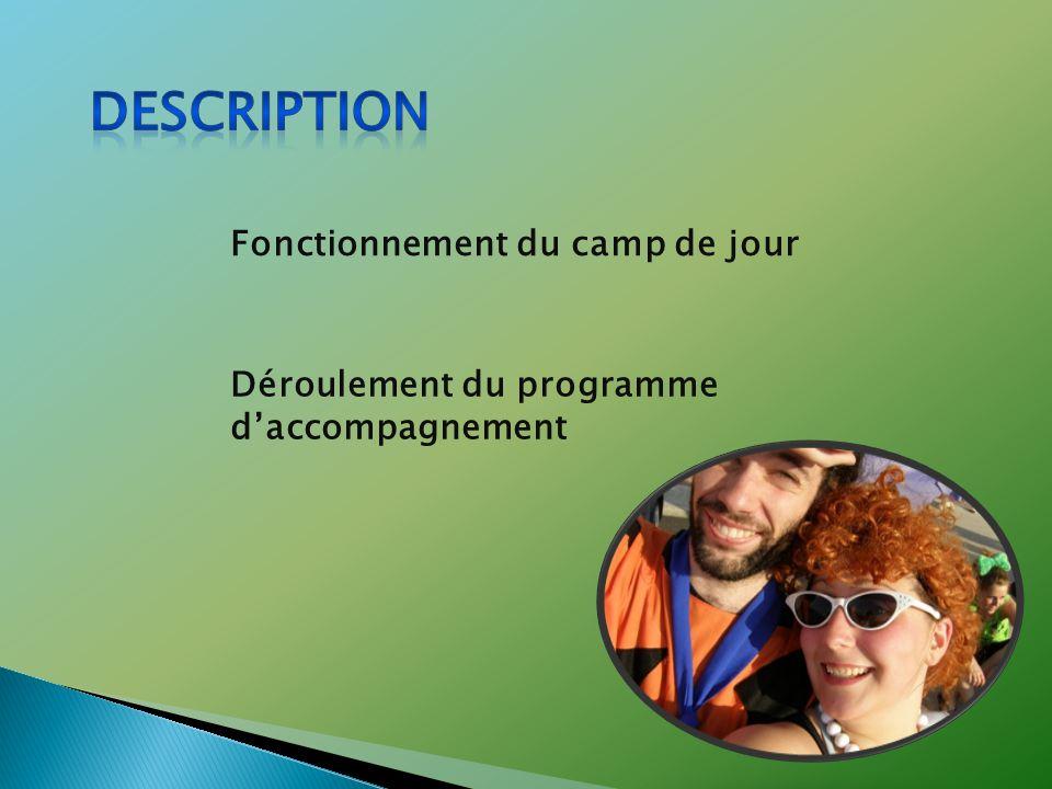 Fonctionnement du camp de jour Déroulement du programme daccompagnement