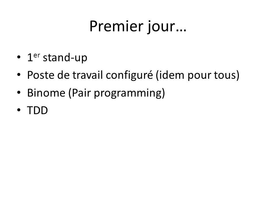 Premier jour… 1 er stand-up Poste de travail configuré (idem pour tous) Binome (Pair programming) TDD
