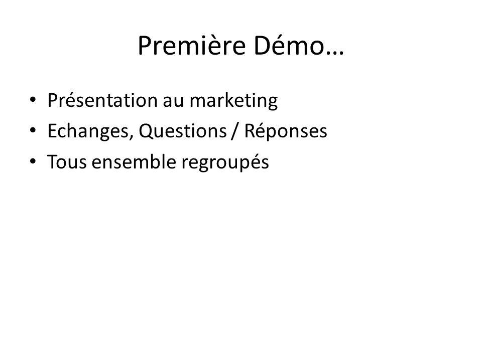 Première Démo… Présentation au marketing Echanges, Questions / Réponses Tous ensemble regroupés