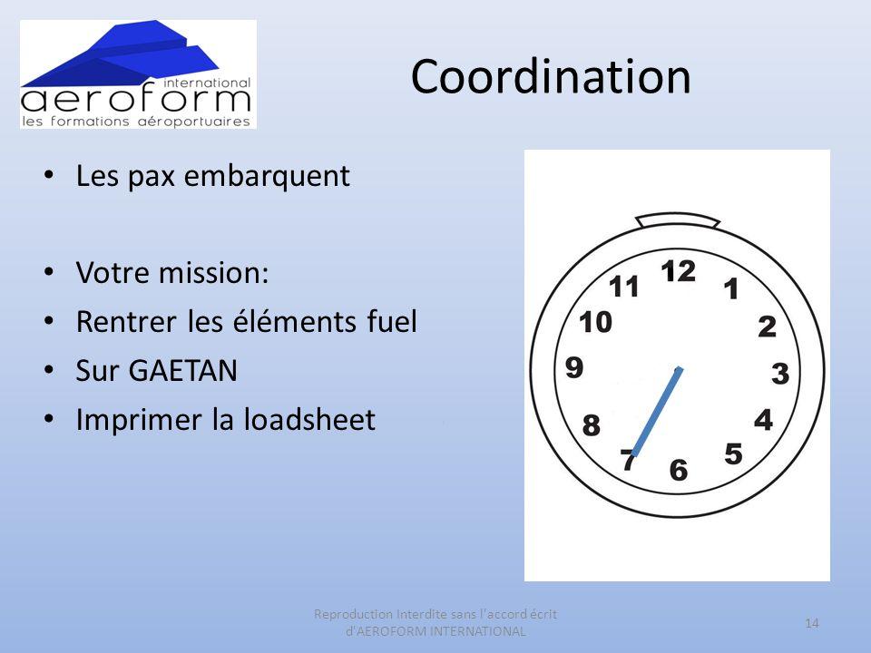 Coordination Les pax embarquent Votre mission: Rentrer les éléments fuel Sur GAETAN Imprimer la loadsheet 14 Reproduction Interdite sans l accord écrit d AEROFORM INTERNATIONAL