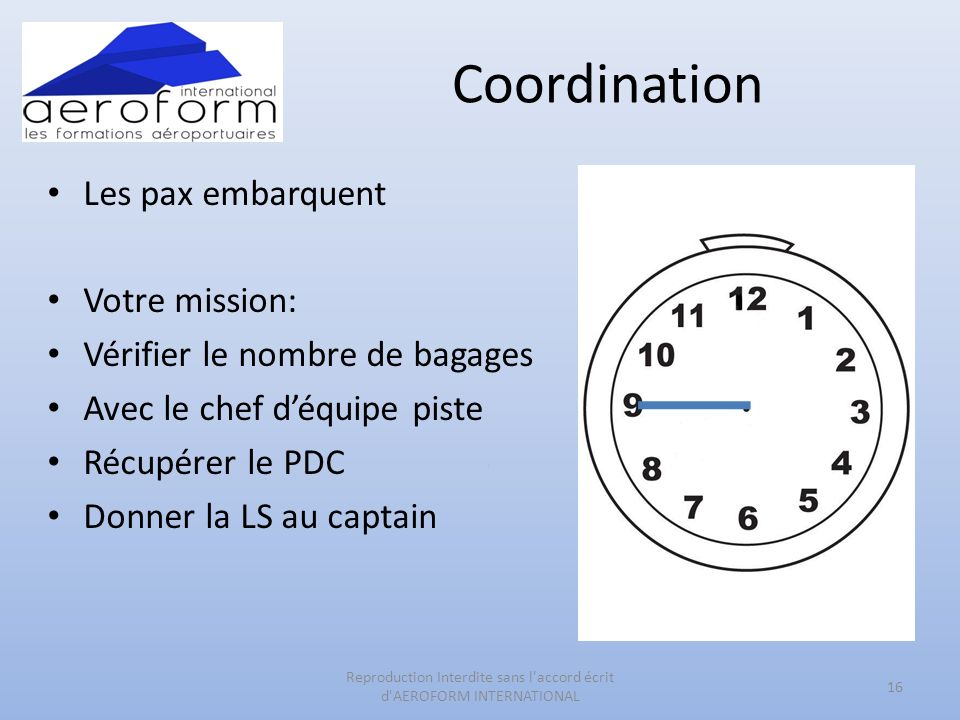 Coordination Les pax embarquent Votre mission: Vérifier le nombre de bagages Avec le chef déquipe piste Récupérer le PDC Donner la LS au captain 16 Reproduction Interdite sans l accord écrit d AEROFORM INTERNATIONAL
