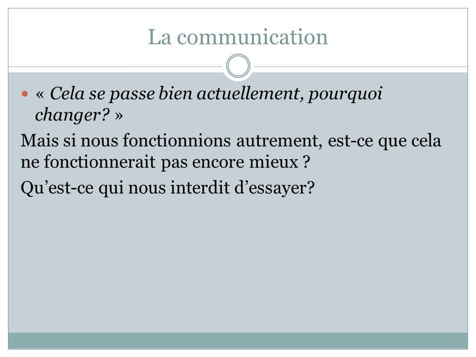 La communication « Cela se passe bien actuellement, pourquoi changer.
