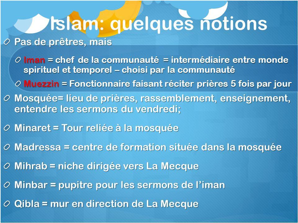 Islam: quelques notions Pas de prêtres, mais Iman = chef de la communauté = intermédiaire entre monde spirituel et temporel – choisi par la communauté
