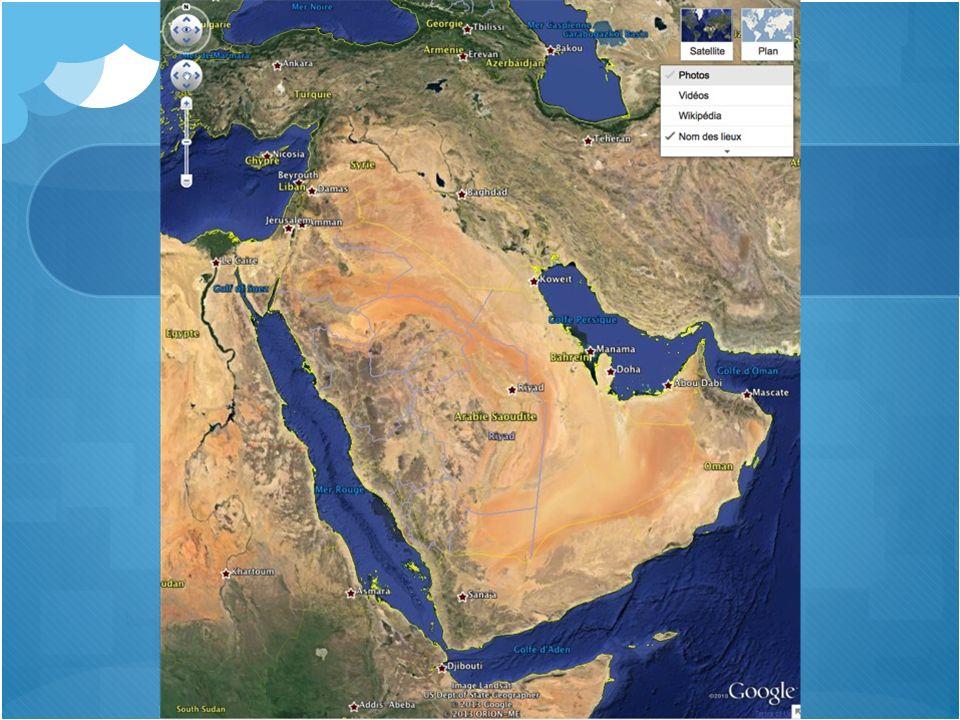 Péninsule arabique Sud-ouest Asie Plus grande presquîle de la Terre Surface plutôt désertique sauf aux extrémités (golfe persique, mer Rouge, océan Indien) Oasis: sources de convoitises Population nomade Aucun fleuve ni rivière