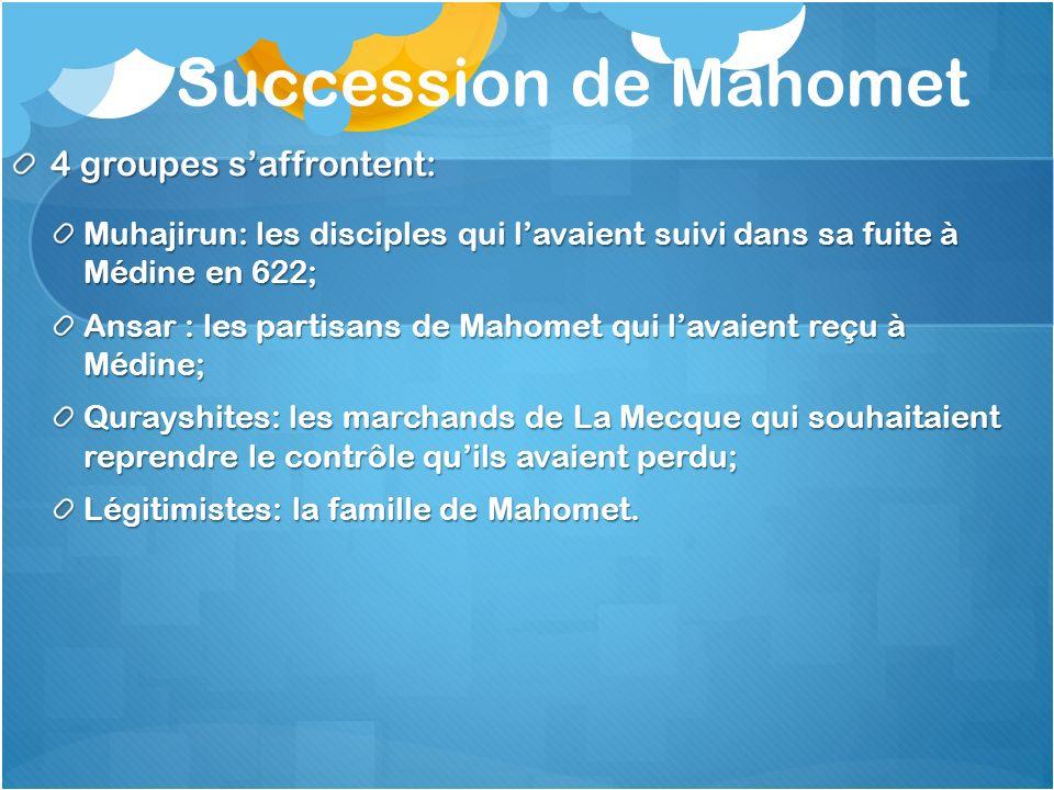 Succession de Mahomet 4 groupes saffrontent: Muhajirun: les disciples qui lavaient suivi dans sa fuite à Médine en 622; Ansar : les partisans de Mahom
