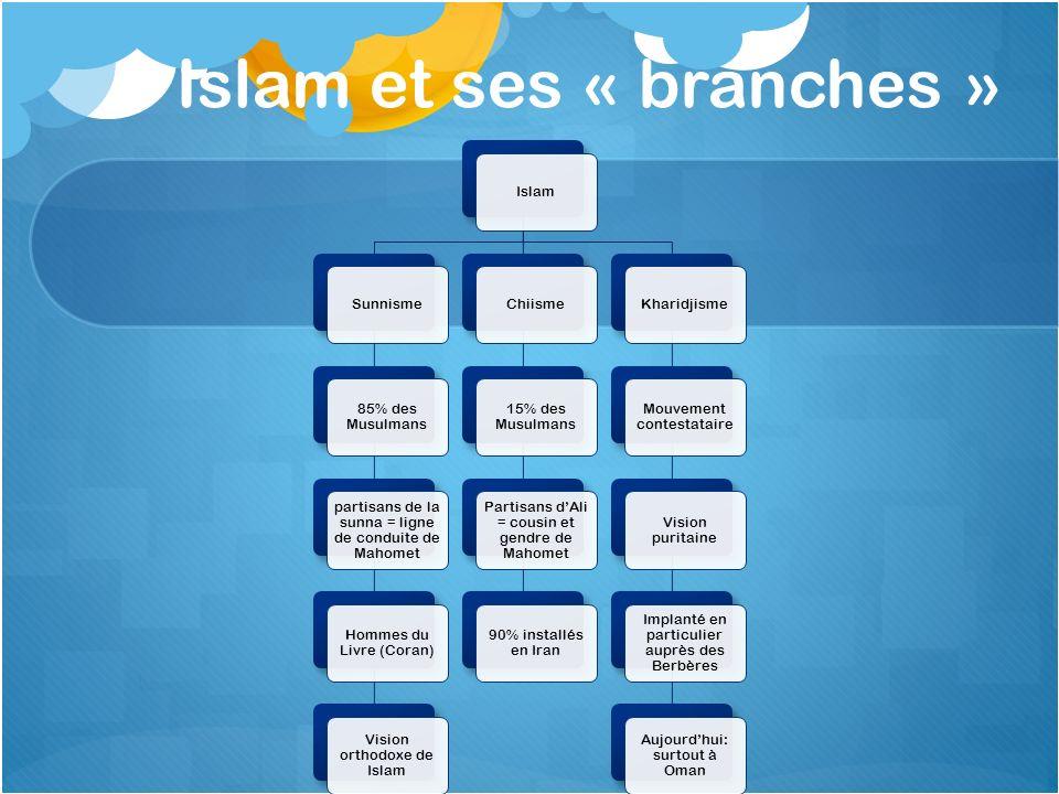 Islam et ses « branches » IslamSunnisme 85% des Musulmans partisans de la sunna = ligne de conduite de Mahomet Hommes du Livre (Coran) Vision orthodox