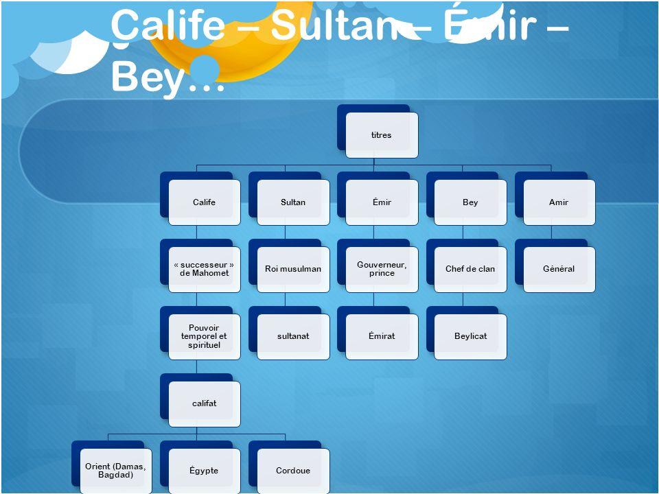 Calife – Sultan – Émir – Bey… titresCalife « successeur » de Mahomet Pouvoir temporel et spirituel califat Orient (Damas, Bagdad) ÉgypteCordoueSultanR
