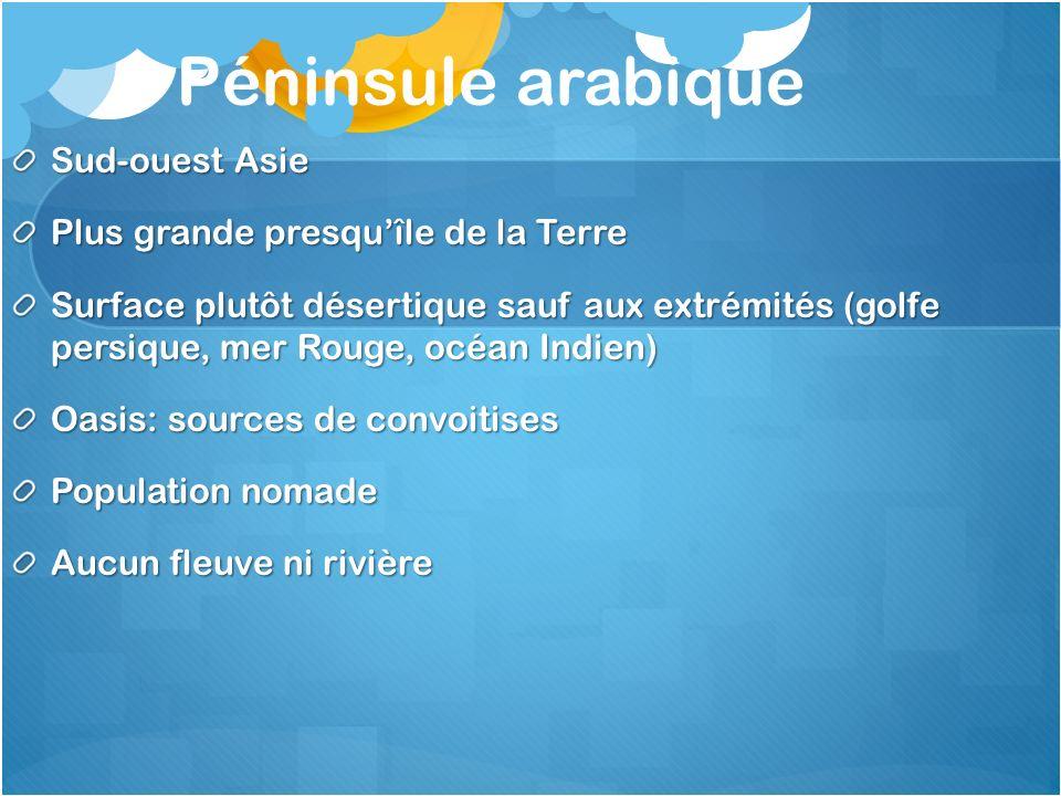 Péninsule arabique Sud-ouest Asie Plus grande presquîle de la Terre Surface plutôt désertique sauf aux extrémités (golfe persique, mer Rouge, océan In