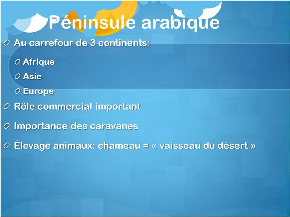 Péninsule arabique Au carrefour de 3 continents: AfriqueAsieEurope Rôle commercial important Importance des caravanes Élevage animaux: chameau = « vai