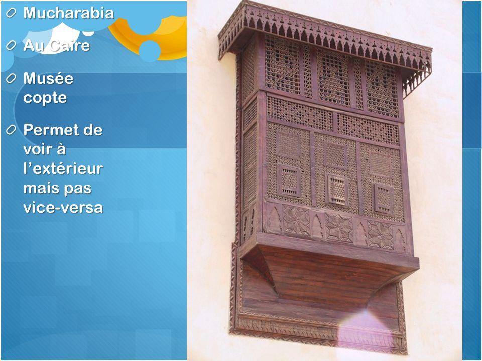 Mucharabia Au Caire Musée copte Permet de voir à lextérieur mais pas vice-versa