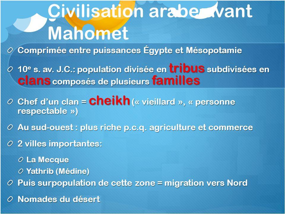 Civilisation arabe avant Mahomet Comprimée entre puissances Égypte et Mésopotamie 10 e s. av. J.C.: population divisée en tribus subdivisées en clans