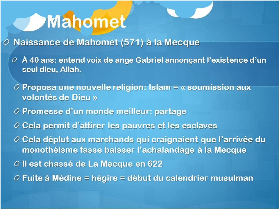 Mahomet, lIslam et un empire Mahomet et 200 disciples se rendirent à Yathrib qui devint Médine (« ville du prophète ») 8 ans plus tard Mahomet revint à La Mecque et détruisit les idoles de la Kaba Le sanctuaire fut réservé à Allah