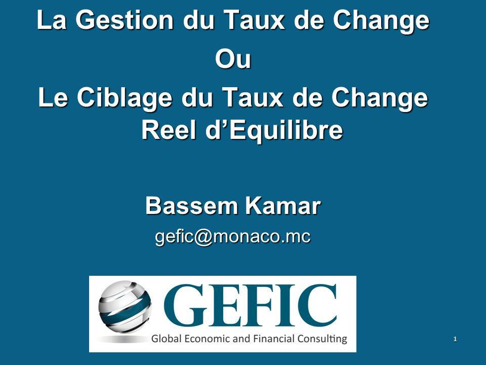 La Gestion du Taux de Change Ou Le Ciblage du Taux de Change Reel dEquilibre Bassem Kamar gefic@monaco.mc 1