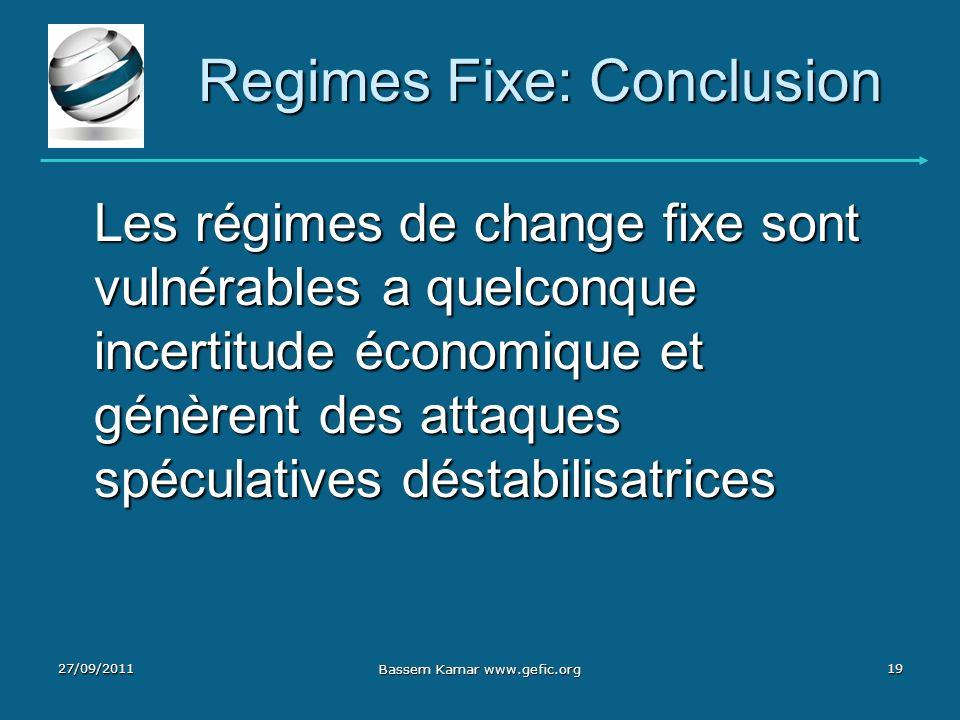Regimes Fixe: Conclusion Les régimes de change fixe sont vulnérables a quelconque incertitude économique et génèrent des attaques spéculatives déstabi