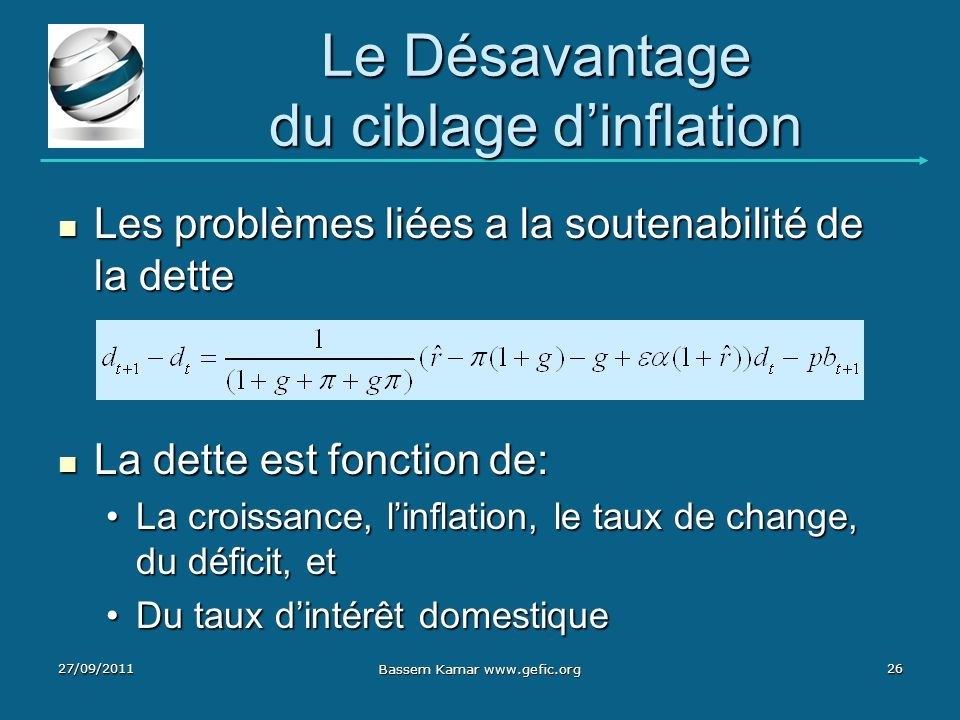 Le Désavantage du ciblage dinflation Les problèmes liées a la soutenabilité de la dette Les problèmes liées a la soutenabilité de la dette La dette es