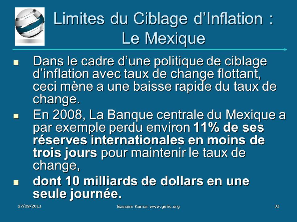 Limites du Ciblage dInflation : Le Mexique Dans le cadre dune politique de ciblage dinflation avec taux de change flottant, ceci mène a une baisse rap