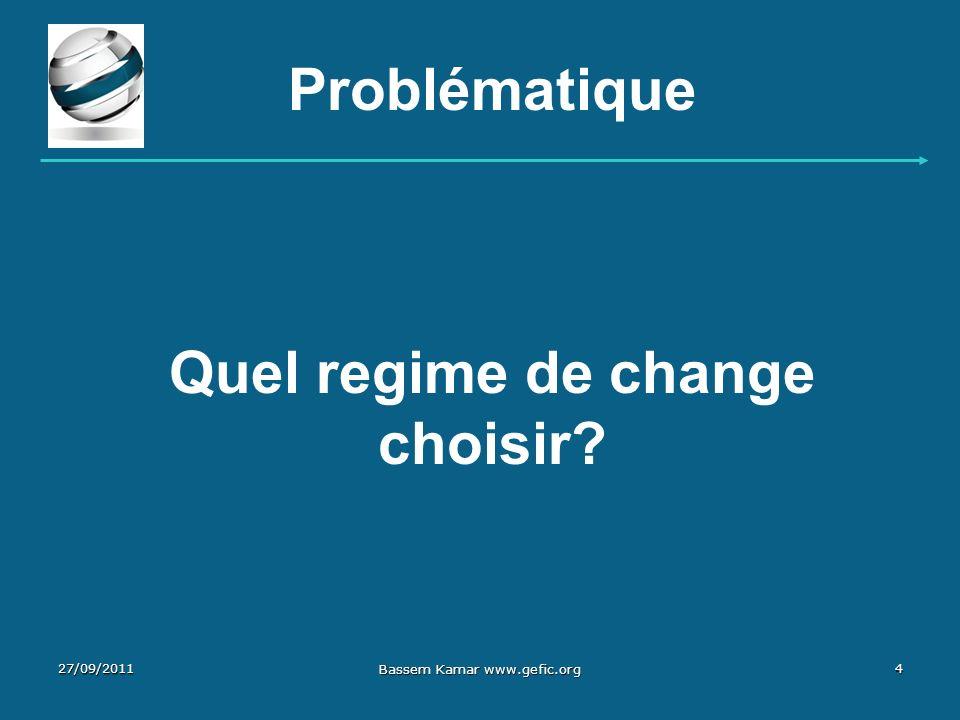 Problématique Quel regime de change choisir? 27/09/20114 Bassem Kamar www.gefic.org
