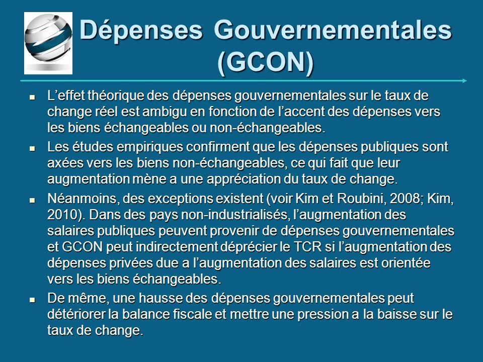 Dépenses Gouvernementales (GCON) Leffet théorique des dépenses gouvernementales sur le taux de change réel est ambigu en fonction de laccent des dépen