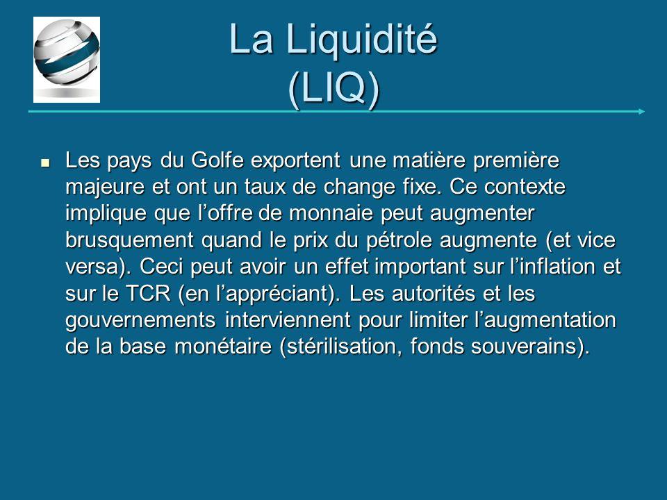 La Liquidité (LIQ) Les pays du Golfe exportent une matière première majeure et ont un taux de change fixe. Ce contexte implique que loffre de monnaie