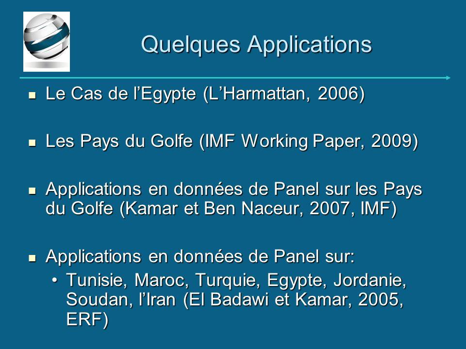Le Cas de lEgypte (LHarmattan, 2006) Le Cas de lEgypte (LHarmattan, 2006) Les Pays du Golfe (IMF Working Paper, 2009) Les Pays du Golfe (IMF Working P