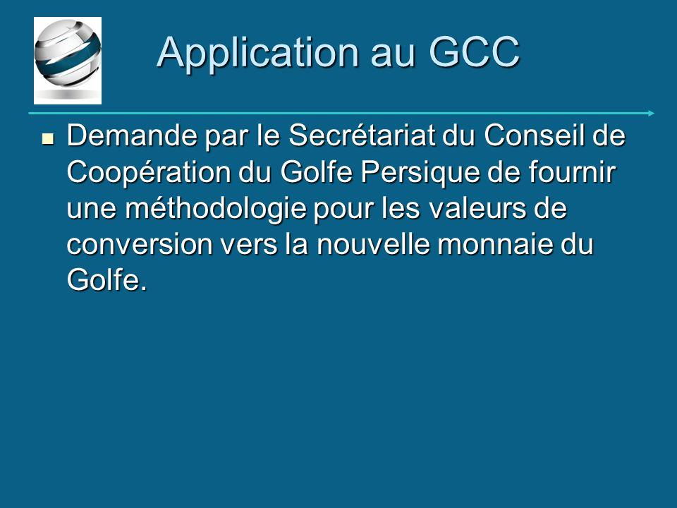 Application au GCC Demande par le Secrétariat du Conseil de Coopération du Golfe Persique de fournir une méthodologie pour les valeurs de conversion v