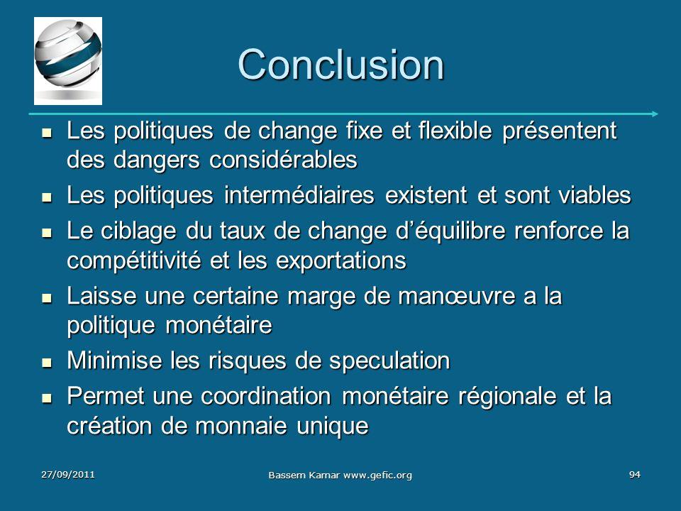 Conclusion Les politiques de change fixe et flexible présentent des dangers considérables Les politiques de change fixe et flexible présentent des dan