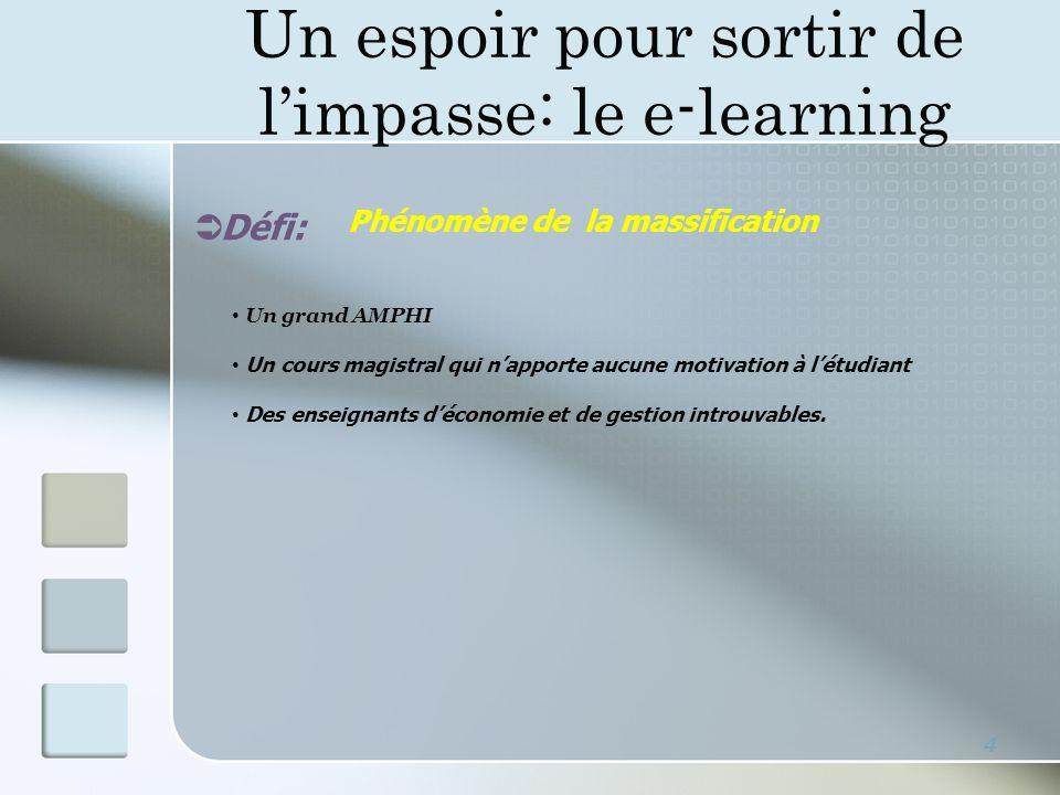 Un espoir pour sortir de limpasse: le e-learning 4 Défi: Un grand AMPHI Un cours magistral qui napporte aucune motivation à létudiant Des enseignants